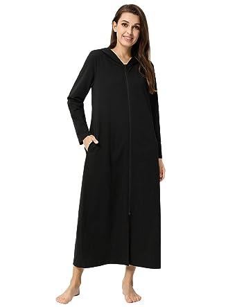 cd88e999a6de Women Robes Hoodie Long Sleeve Zipper Bathrobe Lightweight Cotton Black S