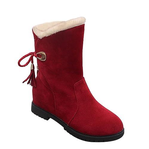 Dooxi Mujer Invierno Antideslizante Nieve Botas Moda Atada Botines Casual Calentar Forrado Zapatos Rojo 40: Amazon.es: Zapatos y complementos
