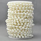Ltvystore 10 mm Roll Large Ivory Pearls String Faux Crystal Beads for Party Garland Wedding Centerpieces Bridal Bouquet Crafts Decoration-10M Length