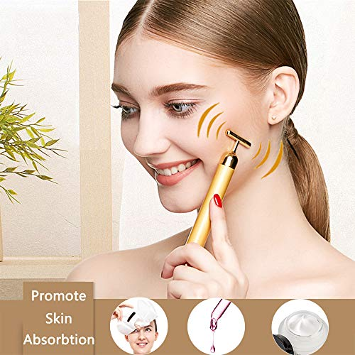 2 in 1 Face Massager Roller Golden Facial Electric 3D Roller and T Shape Arm Eye Nose Head Massager Instant Face Lift…