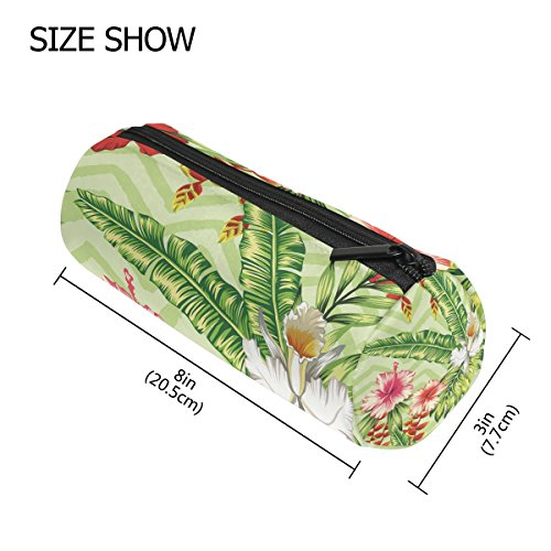 Pencil Case Cylinder Shape Holders Banana Palm Leaves and Flowers Red Pink Hibiscus White Orchid Pen Stationery Pouch Bag with Zipper Makeup -