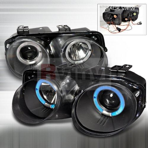 Acura Integra 1998 1999 2000 2001 Doors Dual LED Halo Projector Headlights - Black ()