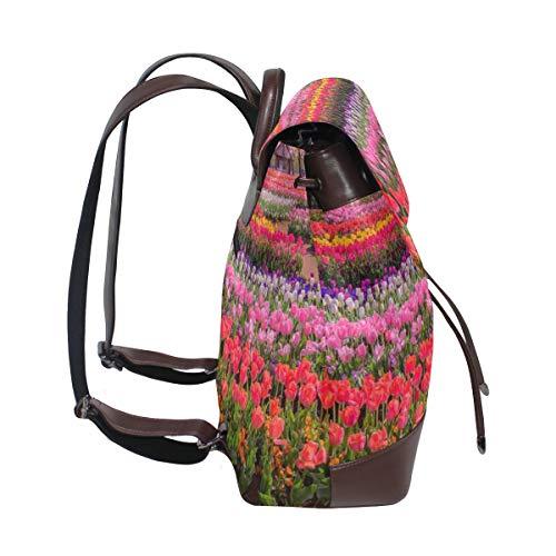 Tulpan Fields ryggsäck handväska mode PU-läder ryggsäck ledig ryggsäck för kvinnor
