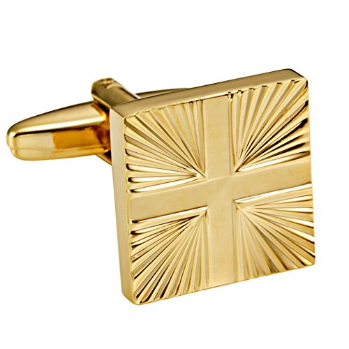 Circle Gold Cufflinks - Shiny Gold Toned Stainless Steel Men's Formal Cufflinks with Abstract Cross Pattern