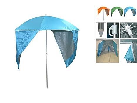 dfb1be22b90f Vetrineinrete® Ombrellone da Spiaggia con Parasole Tenda incorporata per  Una Maggiore Protezione Zone d'