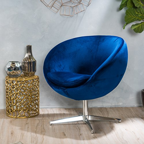 Great Deal Furniture 299584 Eden Navy Blue Velvet Modern Chair,