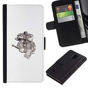 NEECELL GIFT forCITY // Billetera de cuero Caso Cubierta de protección Carcasa / Leather Wallet Case for Samsung Galaxy Note 4 IV // Vikingo Dios Guerrero