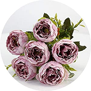 vibe-pleasure 6 Heads/Bouquet Peonies Artificial Flowers Silk Peonies Bouquet White Pink Wedding Home Decoration Fake Peony Rose Flower 53