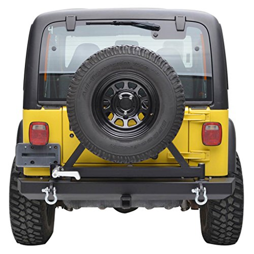 E-Autogrilles 87-06 Jeep Wrangler TJ YJ Off Road Rear Bumper With Tire Carrier & Hitch Receiver (51-0009) (Jeep Bumper Yj compare prices)