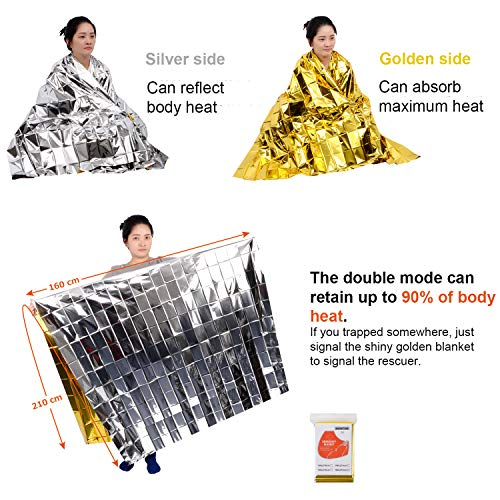 iChefer Emergency Blanket Mylar Survival Blanket 82″ X 62″ Two-Sided Extra Large – Moisture Proof and 90% Heat Retention Foil Space Solar Emergency Thermal Blanket Pack of 10