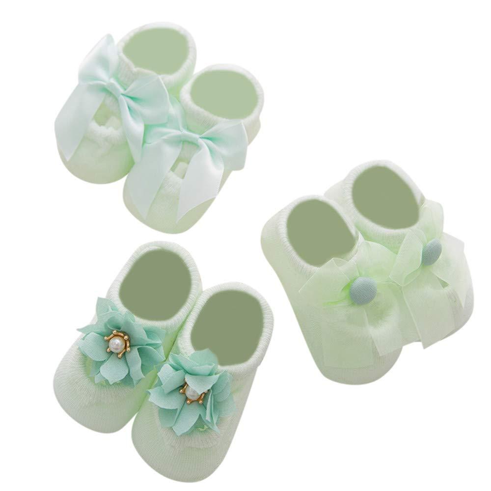 3PC Crib Socks,Kimanli Winter Baby Girls Boys Cartoon Lace Floral Anti-Slip Warm Socks