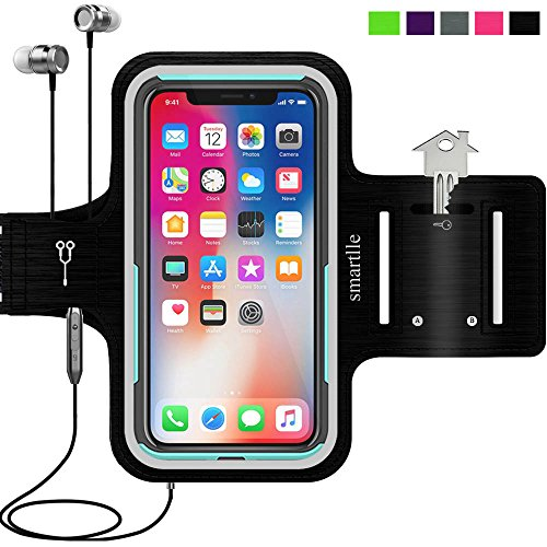 smartlle iPhone & Phone Armband Running Workout Holder for iPhone 11 Pro/X/XS/8/7/6s/6, Samsung Galaxy S10/S10E/S9/S8/A/J, Pixel, Moto, BLU, LG, Fitness Gym Gear for Sports,Exercise,Hiking - Black