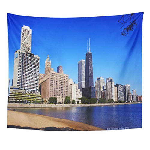 (Semtomn Tapestry Artwork Wall Hanging Tranquil Chicago Skyline Scene City Cityscape Development Architecture Outdoors 60x80 Inches Home Decor Tapestries Mattress Tablecloth Curtain)