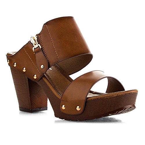 Women's Chunky Heel Platform Sandals Block High Heel Slide Open Toe Studded Slip on Summer Shoes VT03 Tan 6.5 ()