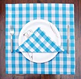 #9: 12 Pack Gingham Checks Dinner Napkins - Light Blue - White - Size 18x18 inch - 100% Cotton - Tailored with mitered corners and a generous hem - Easy care