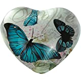 StealStreet SS-G-22016 Heart Shaped Hope Design Paper Weight With Blue Butterflies, 4""