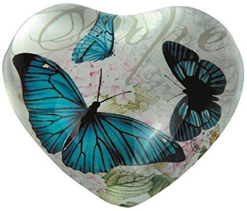 StealStreet SS-G-22016 Heart Shaped Hope Design Paper Weight With Blue Butterflies, - Butterfly Shaped