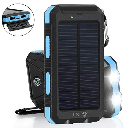 Solar Charger 30000mAh Power Bank Portable Backup Battery Waterproof Panel Charger for Cellphone,Tablet and Most Gadget w/ Dual USB, LED Light, Compass, Hook for Indoor and Outdoor Charging (Blue) by TSI DEALS