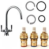 Complete Tap Repair Spares Kit - Spout O Ring Seals & Ceramic Cartridge Valves (set of 3) For FRANKE TRIFLOW DORIC