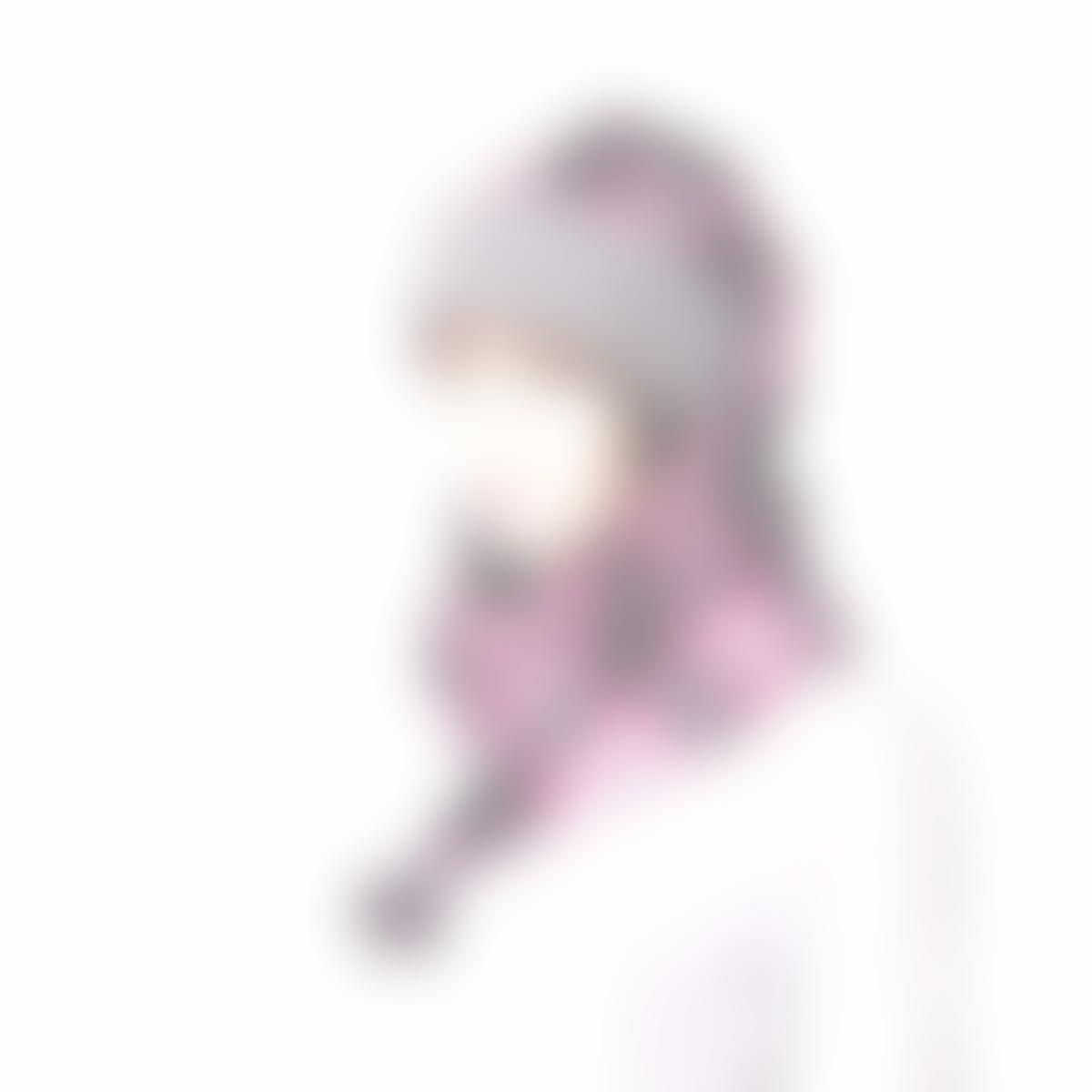 cd7f0979911 Amazon.com  Stocking Cap Long Pink Plaid Wrap Around with Pompom Fleece  Gray Sherpa Scarf Hat  Handmade