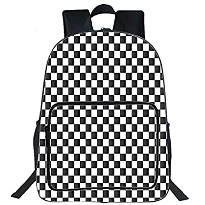 """19""""Large Casual Backpack,Checkered,Monochrome Composition with Classical Chessboard Inspired Abstract Tile Print Decorative,Black White,for boys girls"""