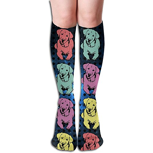 YueluW Women's Dot Art Labrador Retriever Casual Below Knee Socks Tube Stocking Boot Socks Stockings One ()