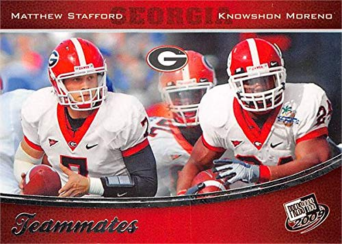 Matthew Stafford & Knowshon Moreno football card (Georgia Bulldogs) 2009 Press Pass Teammates Rookie #91