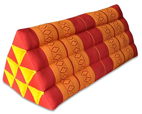 Thai triangular cushion XXL, red/orange, relaxation, beach, kapok, made in Thailand.. (81015) by Wilai GmbH