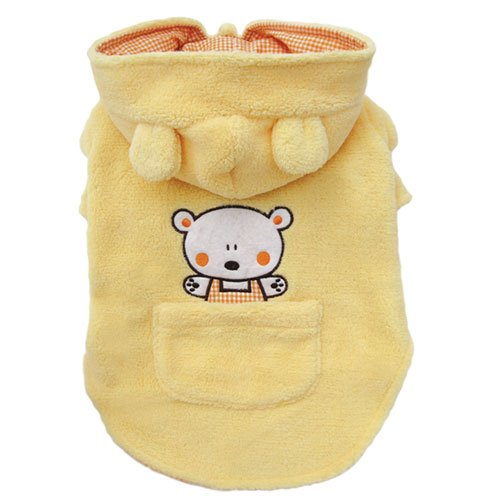Adorable Plush Dog Hooded Coat with Country Bear and Pocket Size: Small, My Pet Supplies