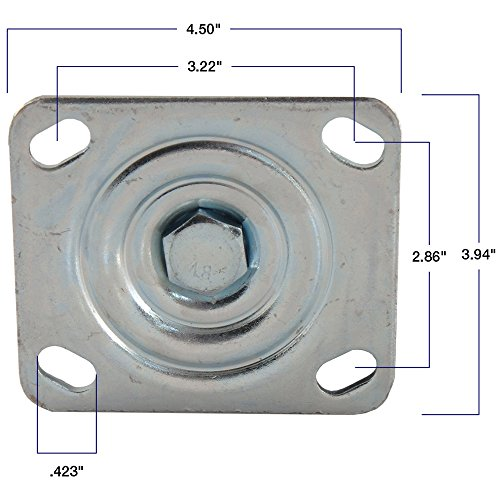 Steel Caster Wheel with Swiveling Top Plate  - 8-Inch -  1050 lb. Load Capacity  -  Great for Stationary Loads that are Not Frequently Moved by SoftTouch (Image #1)