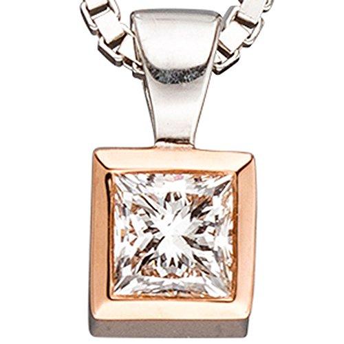 JOBO pendentif en or jaune 585 en or bicolore avec diamant coupe princesse diamantanhänger