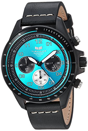 Vestal 'ZR2' Quartz Stainless Steel and Leather Casual Watch, Color:Black (Model: ZR243L26.BKWH)