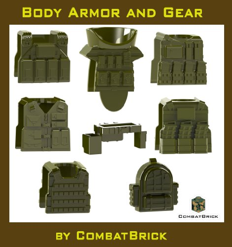 8 Custom Army Builder Toy Accessories - Body Armor and Gear pack in Military Green : Juggernaut EOD Suit, Special Forces Plate Carrier, Reversable Bulletproof vest with magazines, Hydration pack, Tactical SWAT Police Vest, Pistol Belt, Recon Assault Backpack lot