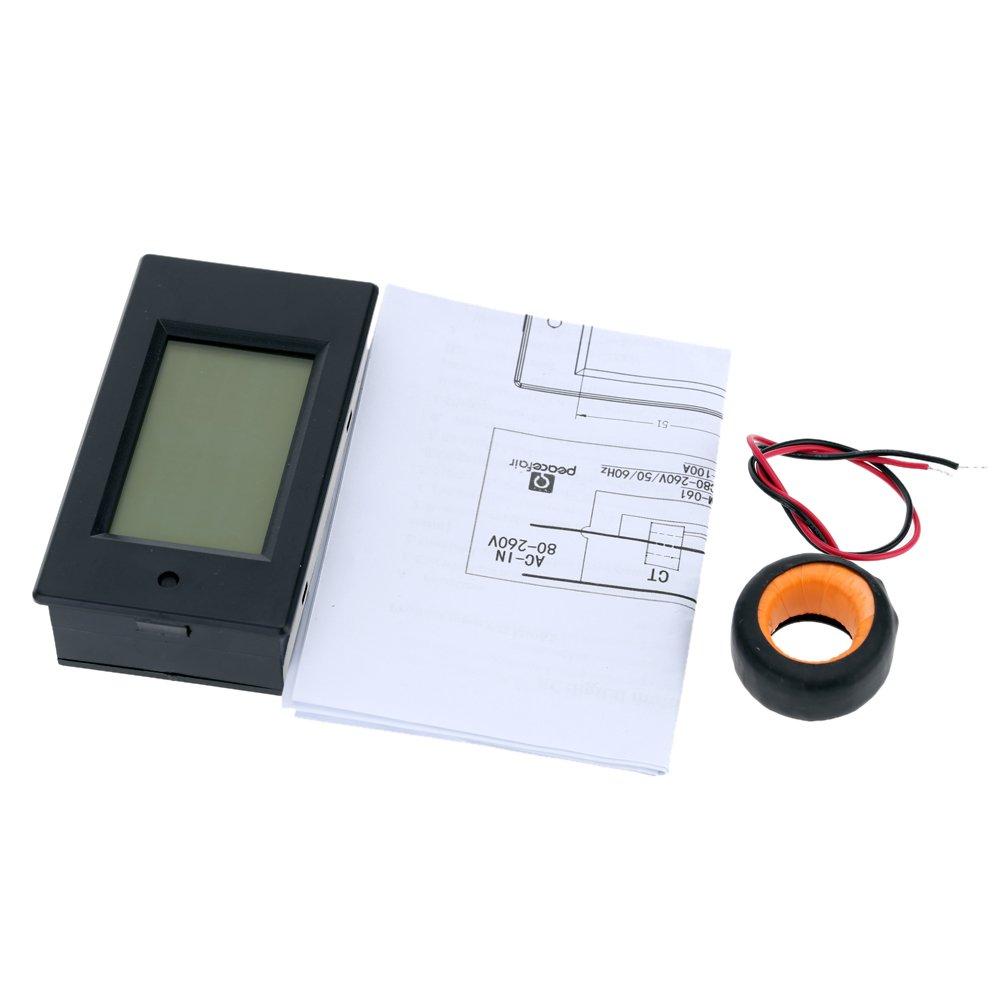 KKmoon AC 80-260 V 100A digital LCD corriente tensi/ón y potencia activa detecci/ón Comprobador amperometro Volt/ímetro multi-funcional Contador de energ/ía con bobina