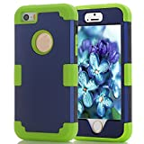 iPhone 5S/SE Case, MCUK [Heavy Duty] [Shock Resistant] [Drop Protection] Hybrid Best Impact Defender Cover Shell Plastic Outer & Rubber Silicone Inner for Apple iPhone 5S/SE (Navy+Green)