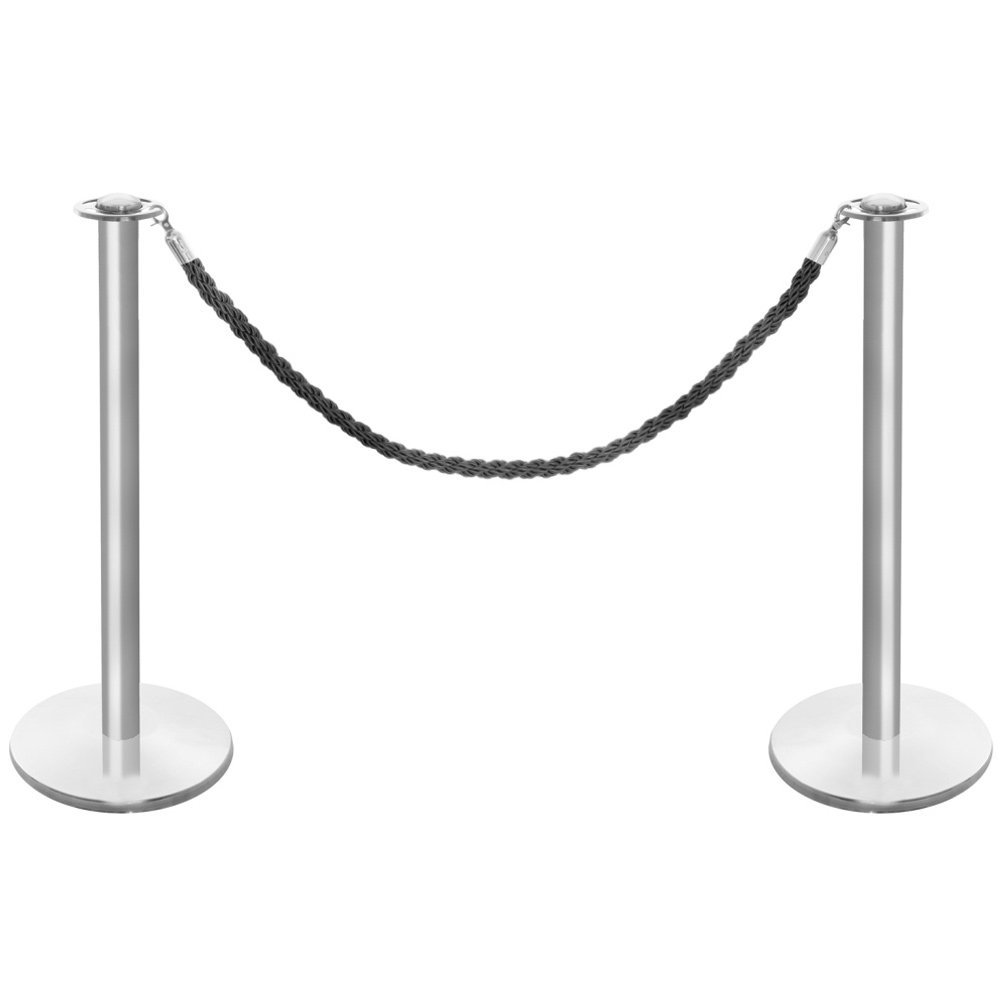 Brushed Stainless Steel Barrier Posts & Black Twisted Rope Set Shopfitting Warehouse 0721501