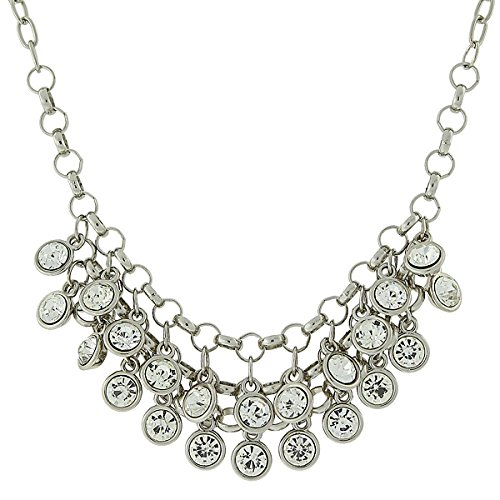 1928 Jewelry Silver-Tone Crystal Cluster Bib Necklace, 16