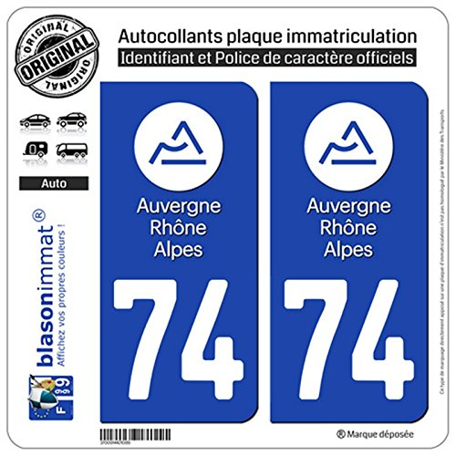 Logotype blasonimmat 2 Autocollants Plaque immatriculation Auto 74 Auvergne-Rh/ône-Alpes