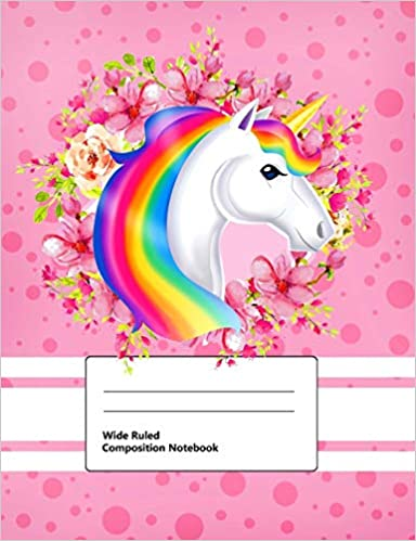 Pony Lined Page Book Soft Cover Plain Journal Wide Ruled//  Horse Family: Writing Notebook Composition Book 100 sheets//200 pages//7.44 x 9.69 in
