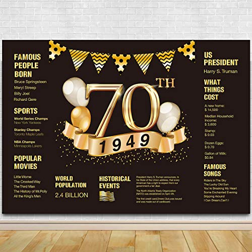 70th Birthday Photography Backdrop | 70th Anniversary Decorations | 1949 Sign | 70th Birthday Black Gold Party Decoration]()