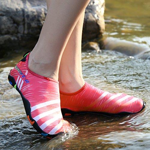 SAGUARO Badeschuhe Wasserschuhe Sommer Schnell Trocknend Schwimmschuhe Slip on Aquaschuhe Strandschuhe Für Damen Herren Pink