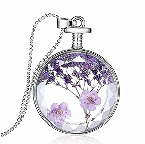 JIAMIN Circle-Shaped Built-in Plant specimens Lavender car Charm of The Rear-View Mirror in The Beautiful Double-Sided Transparent Color (Purple) ()