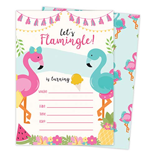 Flamingo 2 Happy Birthday Invitations Invite Cards (25 Count) With Envelopes and Seal Stickers Vinyl Girls Boys Kids Party (25ct)