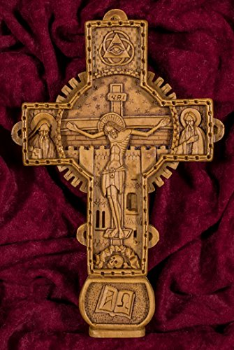 Wall Cross Crucifixion Hand-carved Aromatic Romanian Christian Orthodox Plaque Made with Pure Wax, Mastic and Incense From Mount Athos
