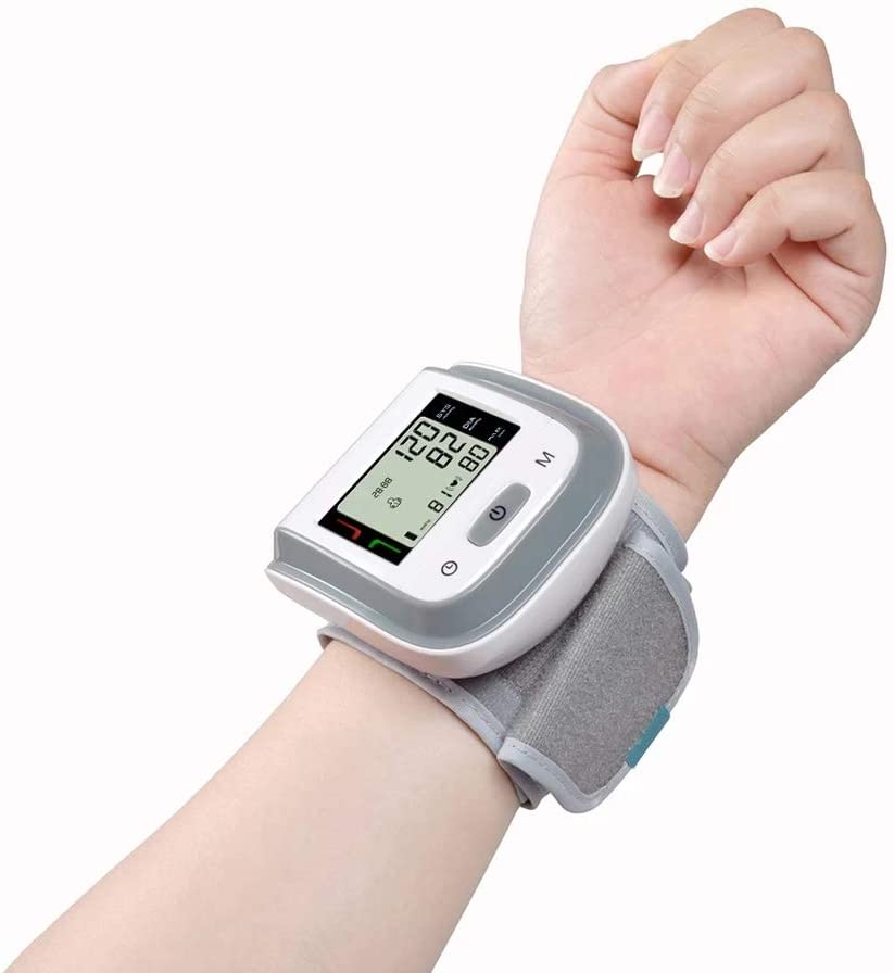Digital Wrist Watch Blood Pressure Moniotr,Automatic Portable Heart Rate Monitor Electric Irregular Heartbeat BP Monitor Cuffs with Large LCD Display 290 Reading Memory Screen Use-Gray