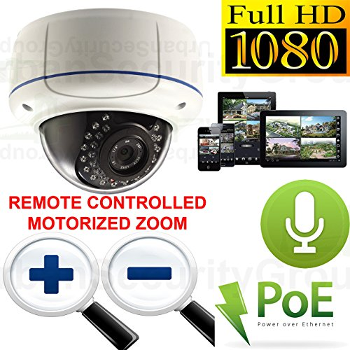 USG 1080P 2MP HD IP PoE Motorized Lens Auto-Zoom & Auto-Focus Dome Security Camera with Audio: 2.8-12mm Lens, 30x IR LEDs 100 Feet Night Vision, IR-Cut, Outdoor Rated, ONVIF, Motion Detection