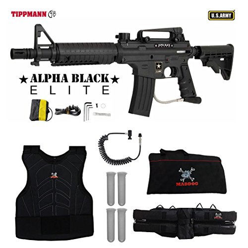 (MAddog Tippmann U.S. Army Alpha Black Elite Tactical Sergeant Paintball Gun Package - Black)