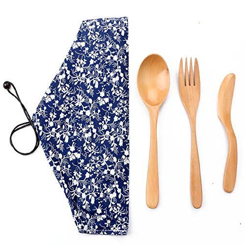 Zlimio Portable Wooden Adult Spoon Fork Knife Tableware Flatware Utensil Set with Pouch