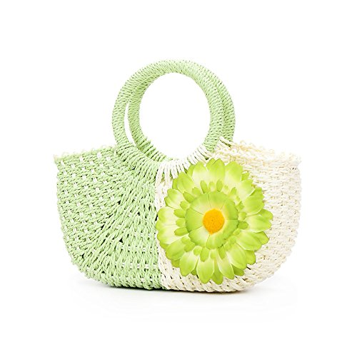 Flowers Straw Beach Handle vert luxe main de Woven vacances ZREAL Rattan Bag Bag Vert Leisure Femmes totalizador qFASnAwRB