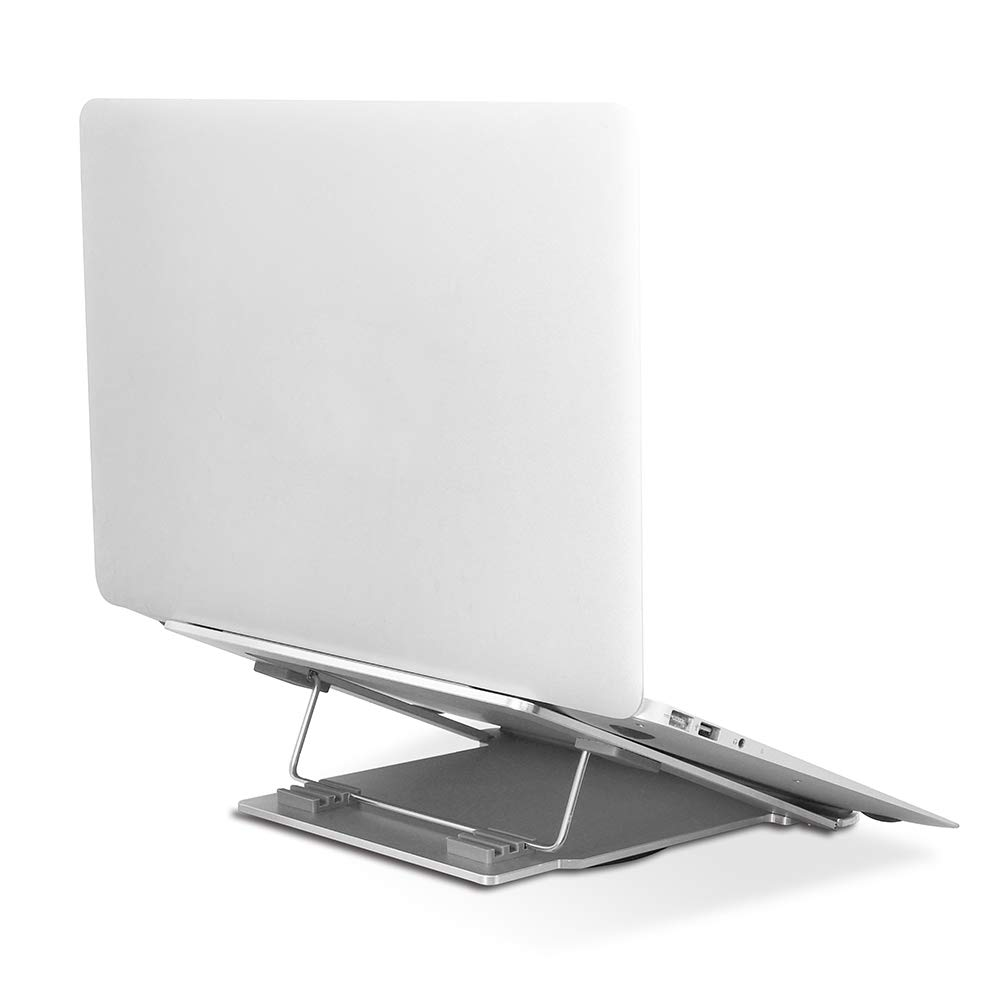 Sundale 360 Degrees Rotating Adjustable Laptop Stand Swivel Folding Portable Computer Stand Ventilated Cooling Ergonomic Riser, Heavy Duty Aluminium Frame, Fit 11''-17'' Laptop/Pad, Silver by Sundale Outdoor (Image #1)